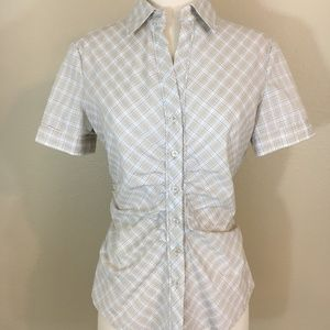 NY&Co S Tan Plaid Ruched Button Up Fitted Shirt